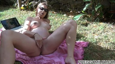 pregnant sex in the garden at 9 months, camshow with a fan