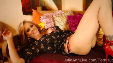 Superstar MILF Julia Ann in Hot Red Shoes Getting Off!