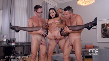 Euro Milf Lea Lexis gets Gang banged at the dinner party