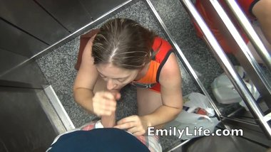 blowjob in the elevator POV with your amateur MILF on voyeur livecam