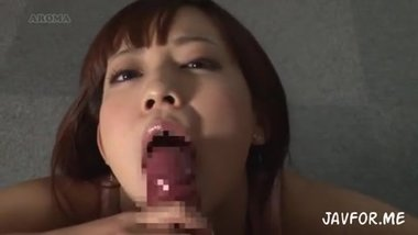 hot japanese MILF knows how to make a bj but doesn't swallow her bf cum...