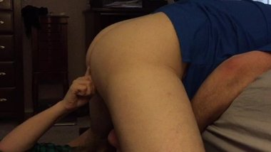 Sucking his cock while I fuck HIS ass with a dildo
