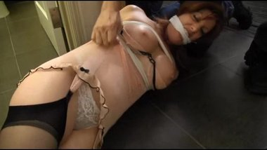 Sara tied and gagged in the bathroom