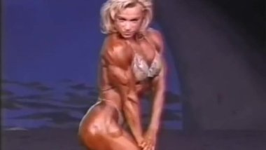Valentina Chepiga, the dancing snakeskin bikini whore of woman bodybuilding