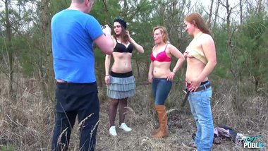 MyFirstPublic - Three horny chick found in the wood and fucked them all