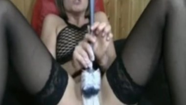 Dam She Nasty Double Fisting and Toilet Brush Fucking Milf