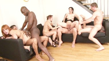 Interracial swinger party with four horny couples