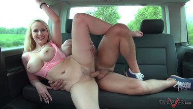 Takevan - Extremely dumb original blonde with big boobs fucked hard in car