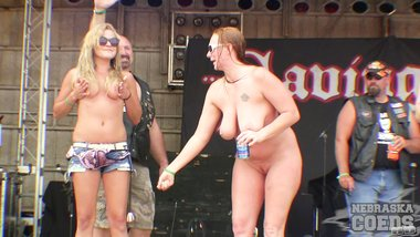 Big Biker Girl Strip Down Contest at the 2015 Abate of Iowa Rally