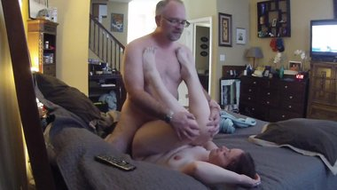 Young milf cheats on her husband while he's at work with a much older man