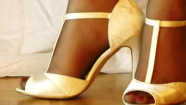 Sheer Slutty Nylon Feet In Open Toe White Heels