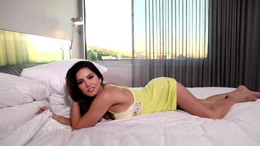 Sunny Leone- Yellow Lacy Lingerie